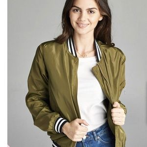 Jackets & Blazers - Olive Green Varsity Stripe Bomber